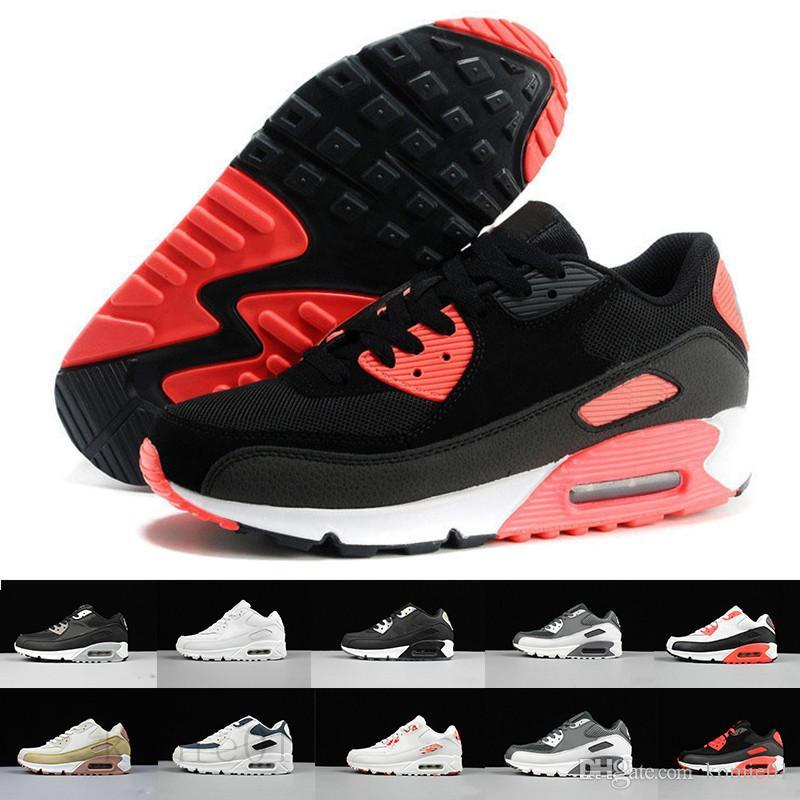 nike air max 90 90s airmax Fast Shipping 2019 Men Shoes Classic 90 Men and woman Shoes Trainer Air Cushion Surface Casual Shoes 36-45 TTHE9