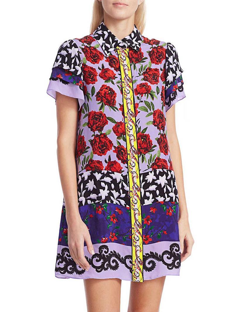 Flower Stampa donne Tubino con manica corta Mini Abiti casual