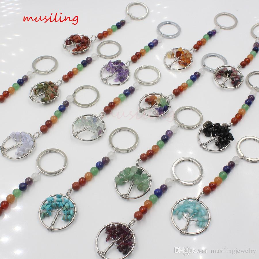 Key Chain 7 Perle Chakra rabdomanzia dell'albero di vita di gioielli di cristallo di quarzo Pendenti Pendolo fascino naturale della pietra Reiki gioielli di moda