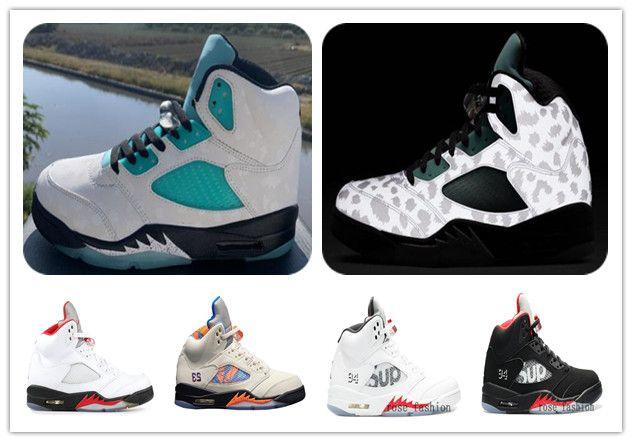 5 5s Ilha Verde tênis de basquete asa branco cimento V Prata metálica Mens Sports Sneakers Atletismo Com Box grátis Shippment