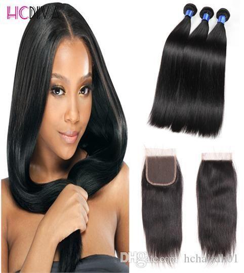 7A Hot vente Mink Vierge non transformés cheveux brésiliens dentelle Fermeture 3 Bundles humaine Weave Cheveux mouillés et Weave Dyeable Cheap Wholesale
