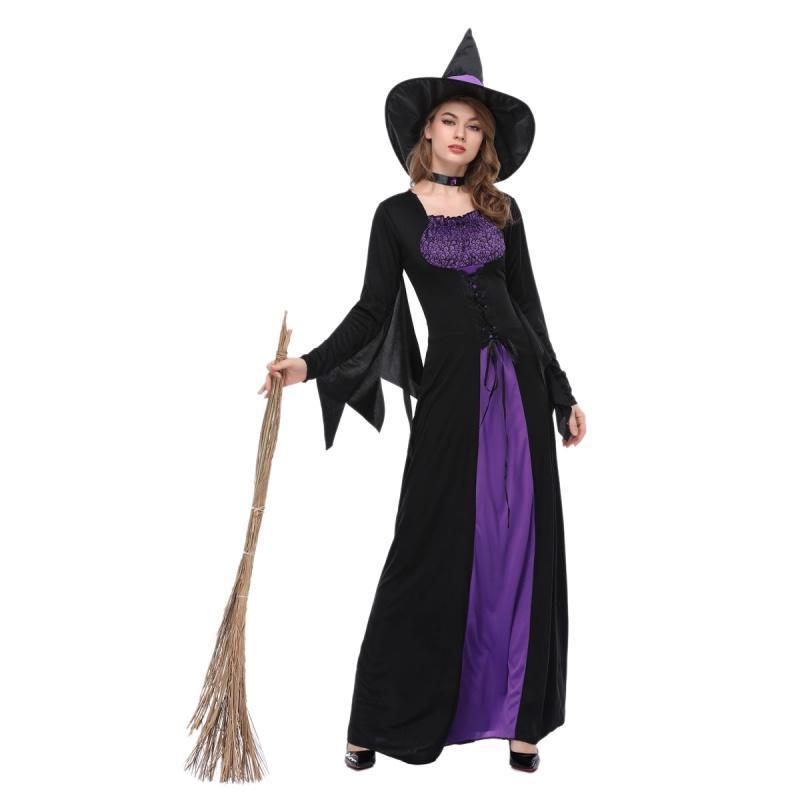 점프 모자 1 개 세트 2018 여성 할로윈 마녀 플러스 사이즈 롱 드레스 코스프레 의상 가을 겨울 파티 드레스
