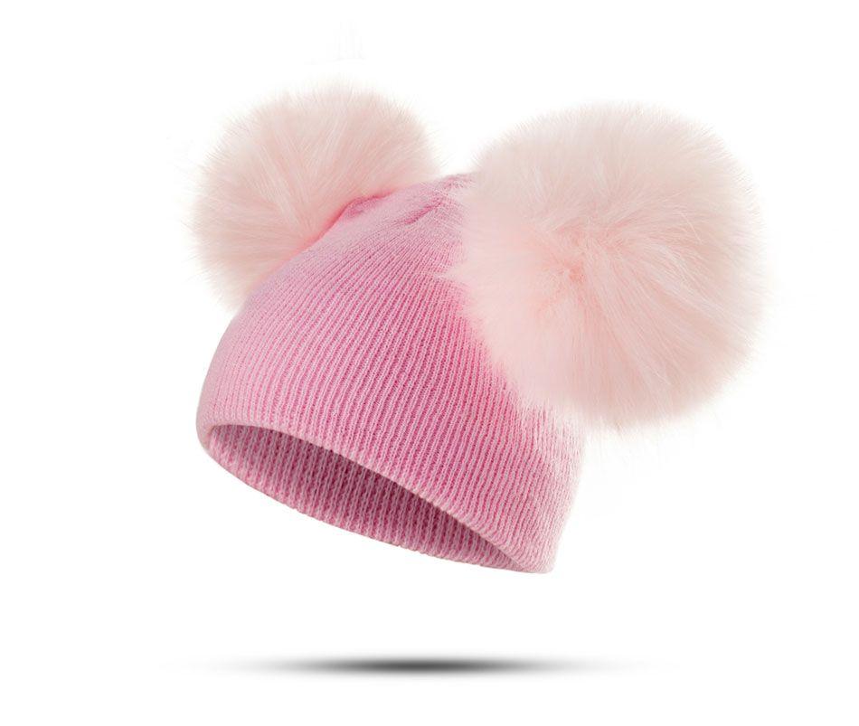 6 أنماط الأطفال قبعة طفل الاطفال الرضع الدافئة في فصل الشتاء قبعة صوف حك قبعة الفراء بوم بوم قبعة طفل بنين بنات كاب 1-3Y قطرة الشحن 30PCS