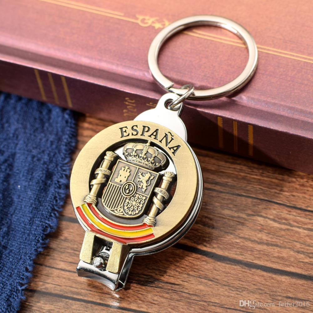 ESPANA Antique Bronze Nail Clipper Key Chain Spanish National Emblem Zinc Alloy Opener Keychain Spain Souvenir Keyring Key Ring