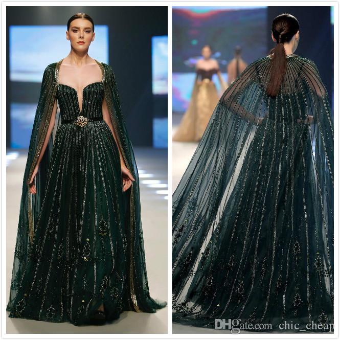 2020 Verde árabe Aso Ebi Luxurious Escuro Vestidos frisado lantejoulas Prom Dresses Sexy formal do partido Segundo Recepção Vestidos ZJ334