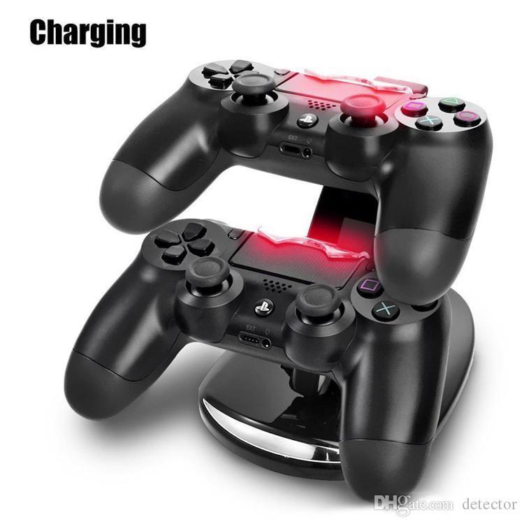 LED 듀얼 충전기 도크 마운트 USB 충전 스탠드 플레이 스테이션 4 PS4 Xbox 용 도박 무선 컨트롤러 소매 박스 무료 배송