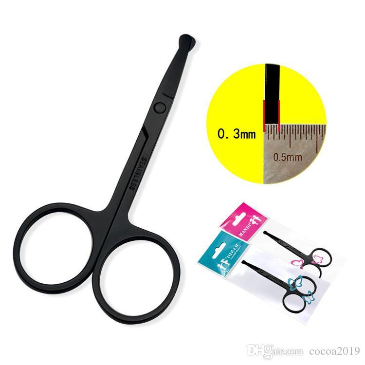 3.0 negro alrededor de la cabeza de la nariz cortadora de cabello para hombres de corte de pelo de la nariz para las mujeres belleza pelo de la nariz pequeñas tijeras 200 PC DHL