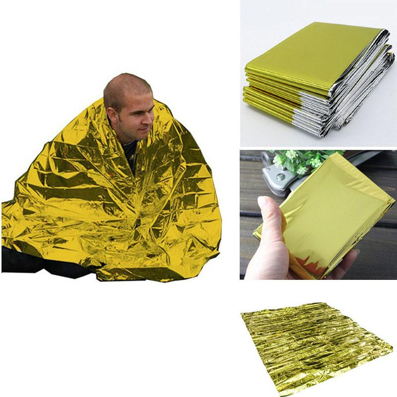Emergency Blanket térmica Folding Pára-sol reflexivo reutilizável portátil Poncho Canopy Mat Pad Tampa do carro