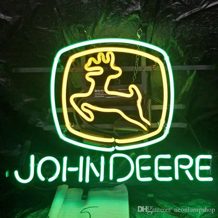 Custom Factory Led JOHN DEERE segno al neon di visualizzazione luce esterna Bar Intrattenimento Conservare al neon della lampada di vetro Light Metal Telaio 17 '' 20 '' 24 '' 30 ''