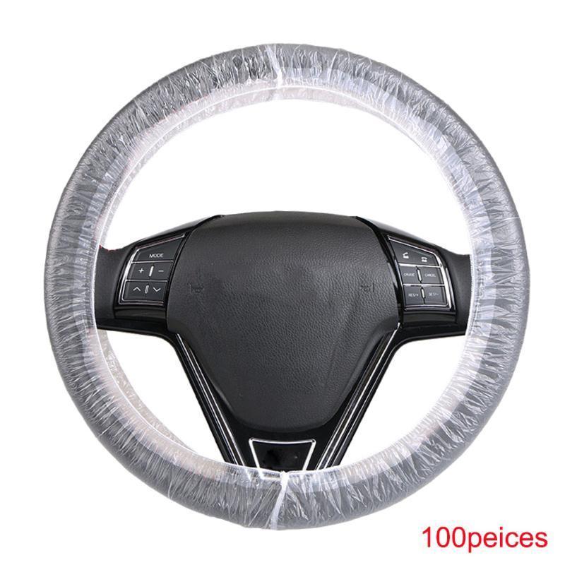 100 adet tek kullanımlık direksiyon Kapakları şeffaf Evrensel araba Dekorasyon araç süs B88