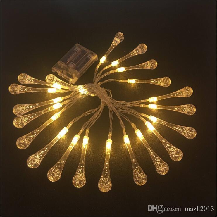 SXI pil işletilen led sır su damlası saçağı dize ışık su geçirmez sıcak beyaz 5 m 20 ışıkları led noel peri işık