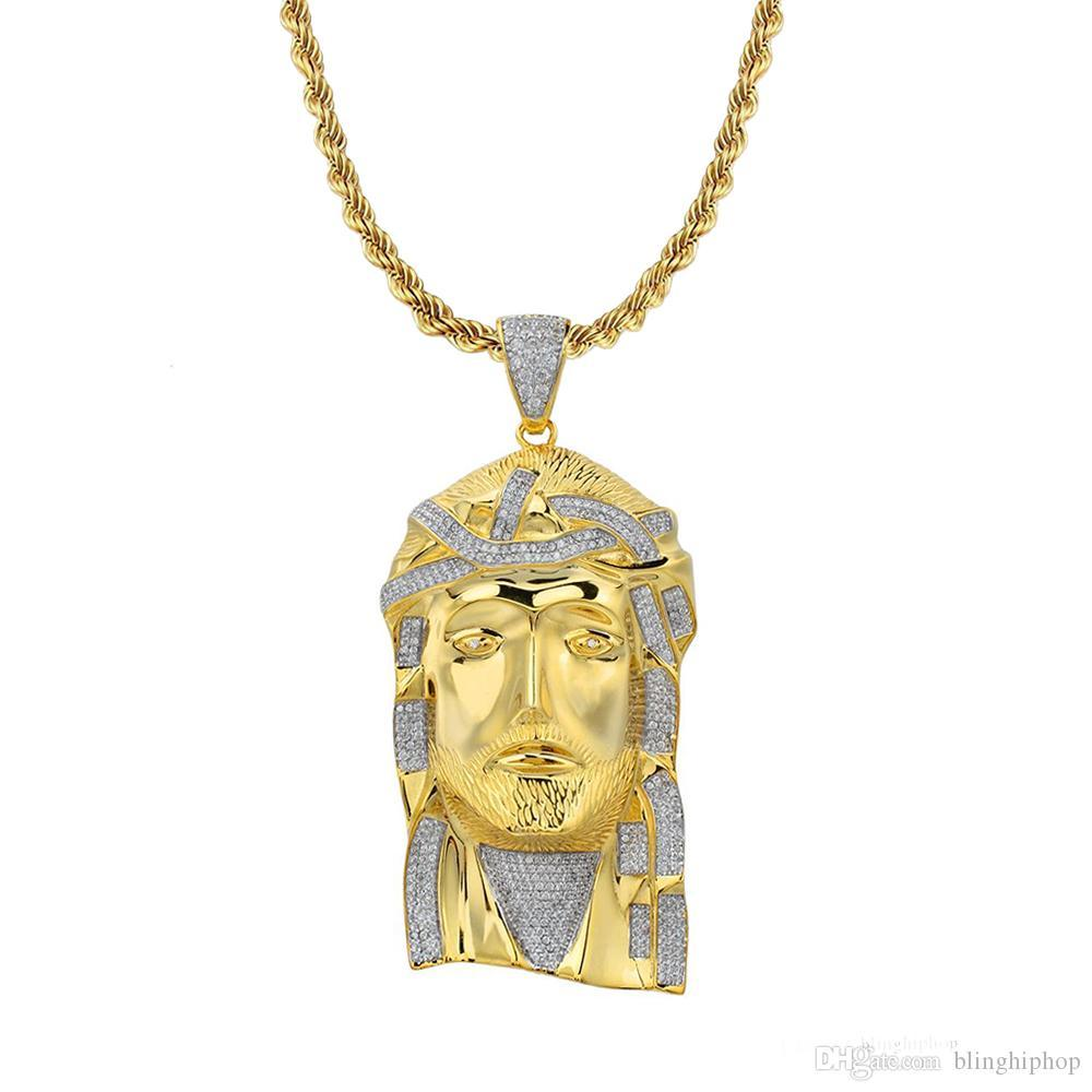 Fashion 925 Sterling Silver Religion Jewelry CZ Iced Out Simple Gold Jesus Piece Pendant Necklace Design for men
