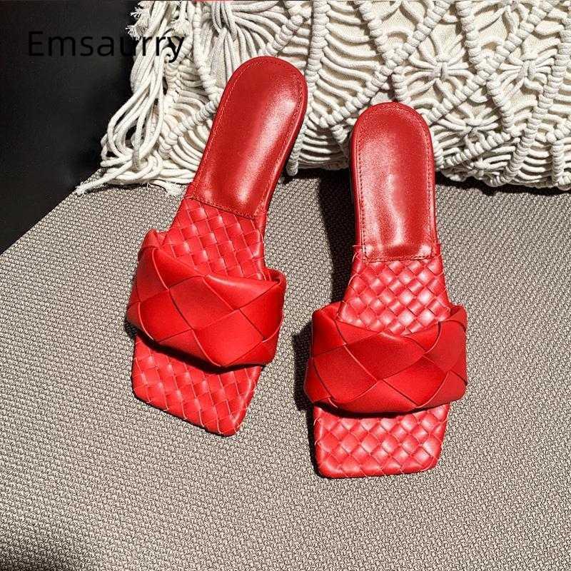 Tricotée une sangle Chaussures d'été Femme Sexy Place toes en cuir véritable plat Slides unique piste tressées chaussons femmes