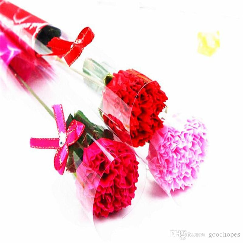 Artificial Rose Carnation Flower Single Soap Flowers for Valentines Day Mother's Day Teachers Day Gift Wedding Party Decoration