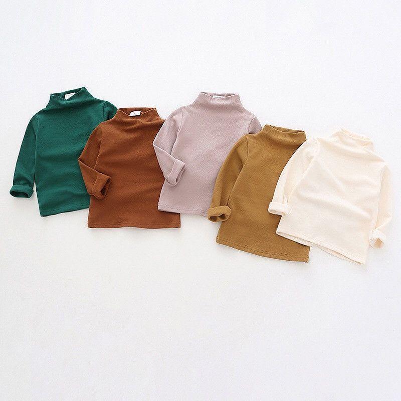 Dudu Ins İlkbahar Sonbahar Çocuk Kız Pamuk Boş Tişörtleri Çocuk Yüksek Boyun Pamuk Yumuşak Tops Tees Tasarımcı Ins Çocuk Erkek Giyim Kıyafetleri