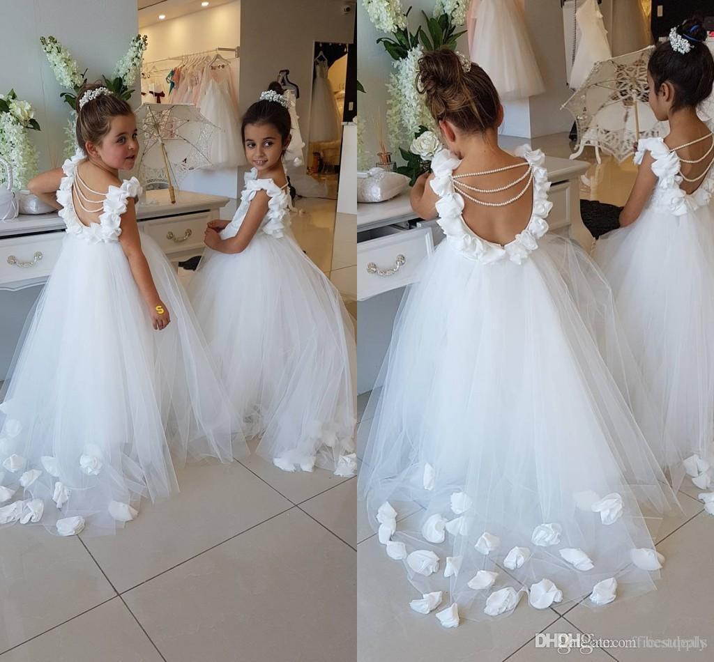 2019 Flor Meninas vestidos para festa de aniversário casamentos colher Ruffles Lace Tulle Pérolas Backless Princesa Crianças Vestidos de casamento