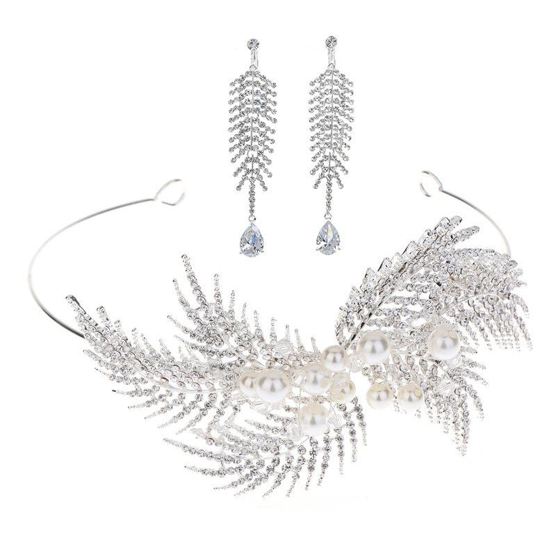 Corea del boda de la novia Accesorio de cabeza una corona de plata diamante Manual de pelo de la perla del aro Nada agujero de oído del oído abrazadera Grupo Combinar Traje