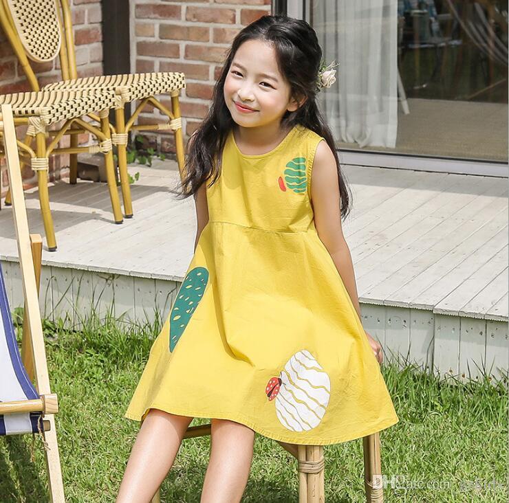 Girls' Sommerkleid Mode koreanischen 2020 neues Kleid Baumwolle druckte Rock für Mädchen tragen freies Verschiffen
