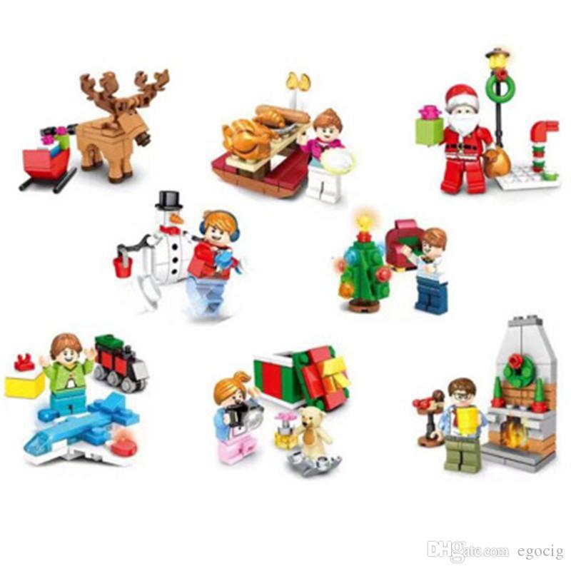 Блоки Рождественский Санта сани reinder строительные блоки кирпич образование игрушки кучи снеговик рождественские блоки бесплатная доставка