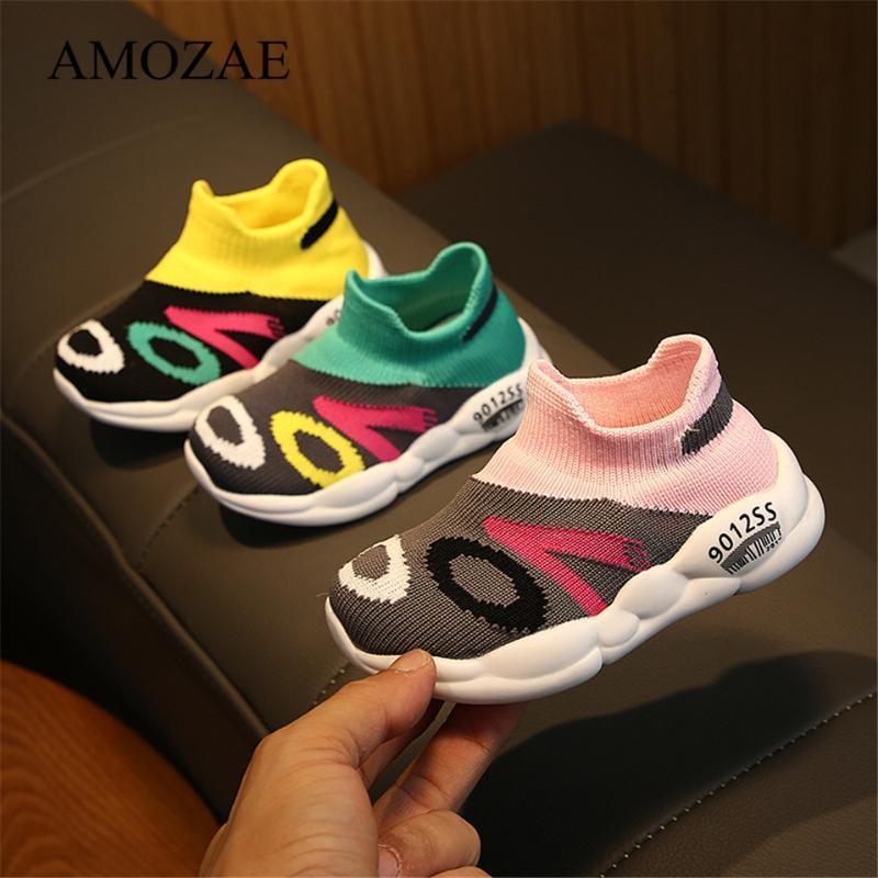 2020 nouveaux enfants Chaussures Mode enfant en bas âge infantile Enfants Bébé Filles Garçons Maille douce Sole Sport Chaussures Baskets bébé anti-dérapant