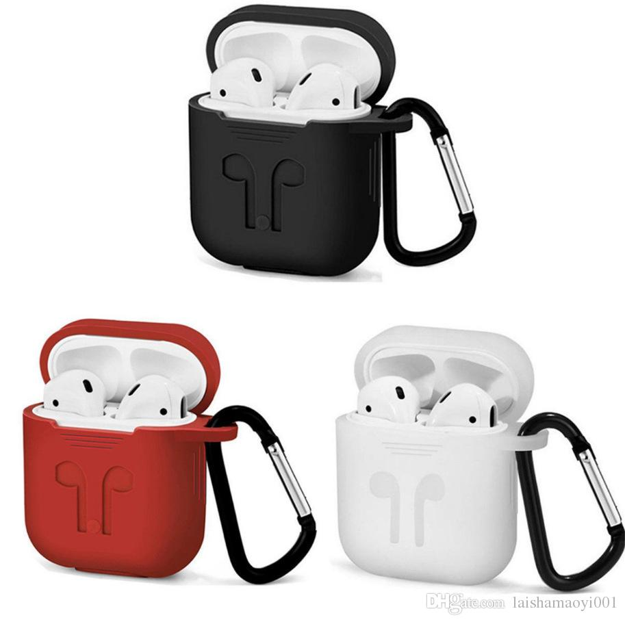 Apple AirPod AirPod silicone écouteurs luxe Case Designer protection en cuir Couverture Crochet fermoir porte-clés Anti paquet perdu écouteurs