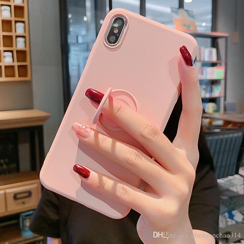 Etui en silicone souple pour iPhone 11 Pro iPhone11 XS Max 6Plus 7Plus 8Plus XR X 7 8 6 S 6S plus Holder Anneau stand Silicon Back Cove