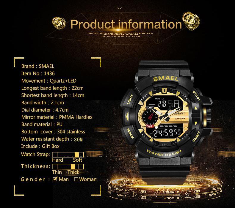 Reloj del deporte del choque Hombres S 50M impermeable militar del ejército Reloj Digital Reloj Hombre 1436 hombres Wwatch Moda Relogio Masculino luxo