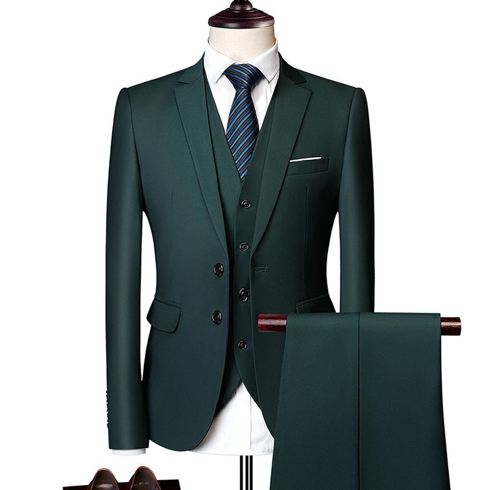 Harika Damat Erkek Düğün Balo Suit Yeşil Slim Fit Smokin Erkekler Resmi İş Iş Elbisesi 3 Adet Set Suits (ceket + Pantolon + Yelek)