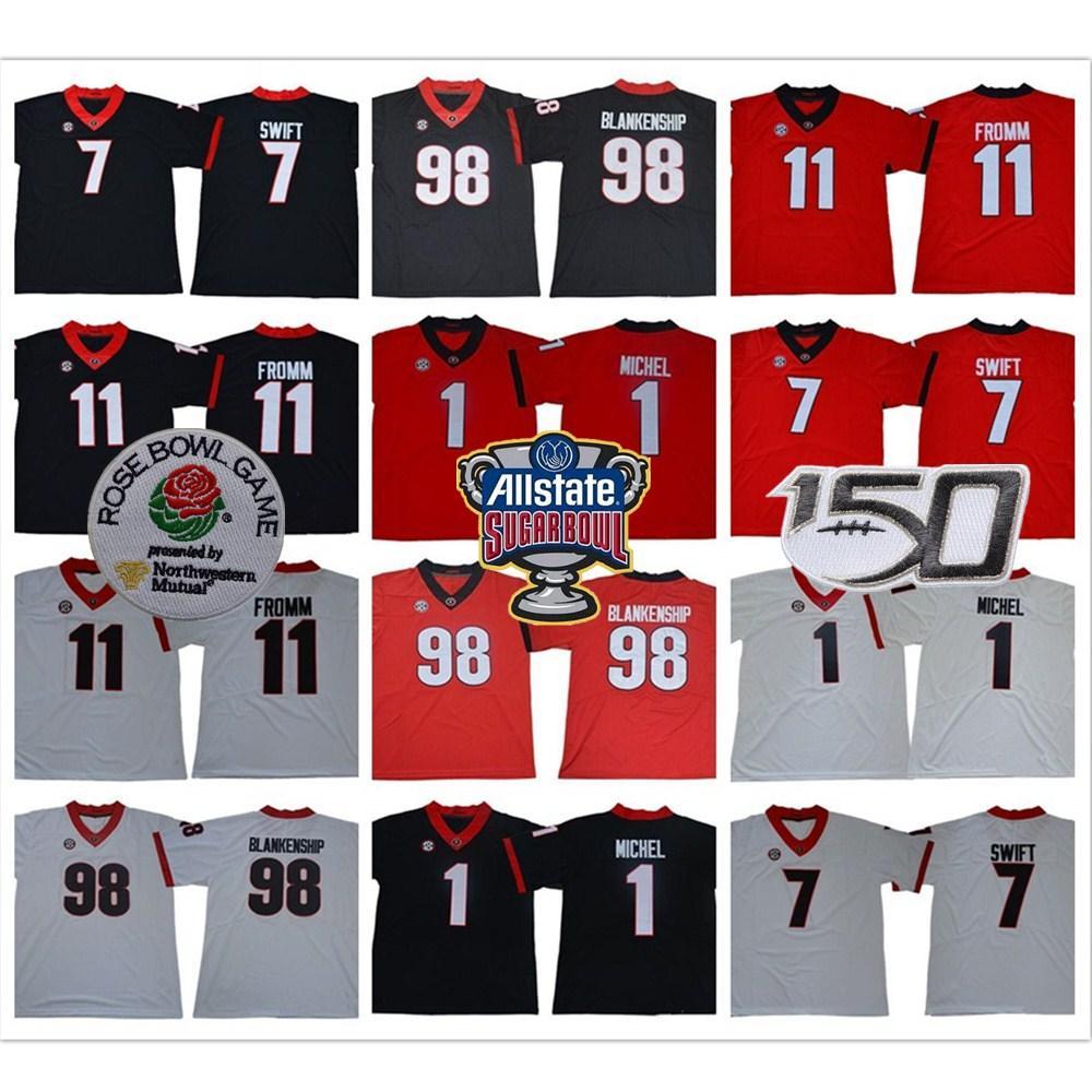 조지아 불독 98 Rodrigo Blank Hang 1 소니 미셸 7 D 'Andre Swift 11 Jake Fromm 2019 UGA 축구 유니폼 NCAA 150th