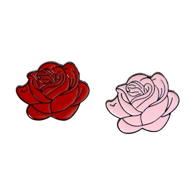 New Cartoon Enamel Red Pink Rose Flower Decorative Brooch For Women Valentine's Day Gift Corsage Pin Jewelry Gift