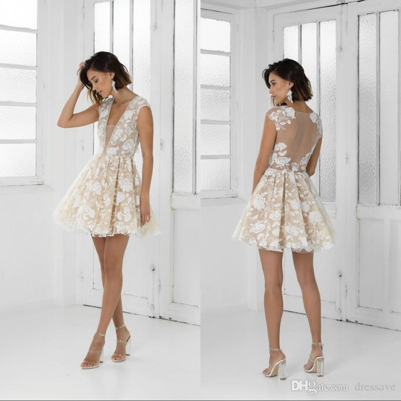 Nouveaux robes de cocktail de champagne de luxe sexy profond de V-Col V-Col Veilleur Club d'illusion Porter Homecoming Goîtes de robe de bal