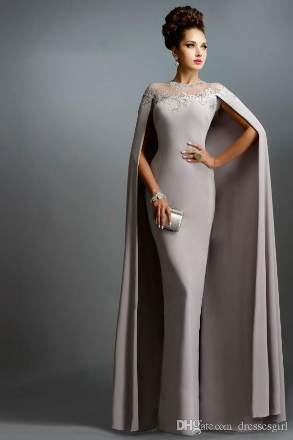 Long Evening Dresses with Cape Mother Dresses Sheer Crew Neck Women Formal Gown Custom Made Mermaid Mother of the Bride Dress