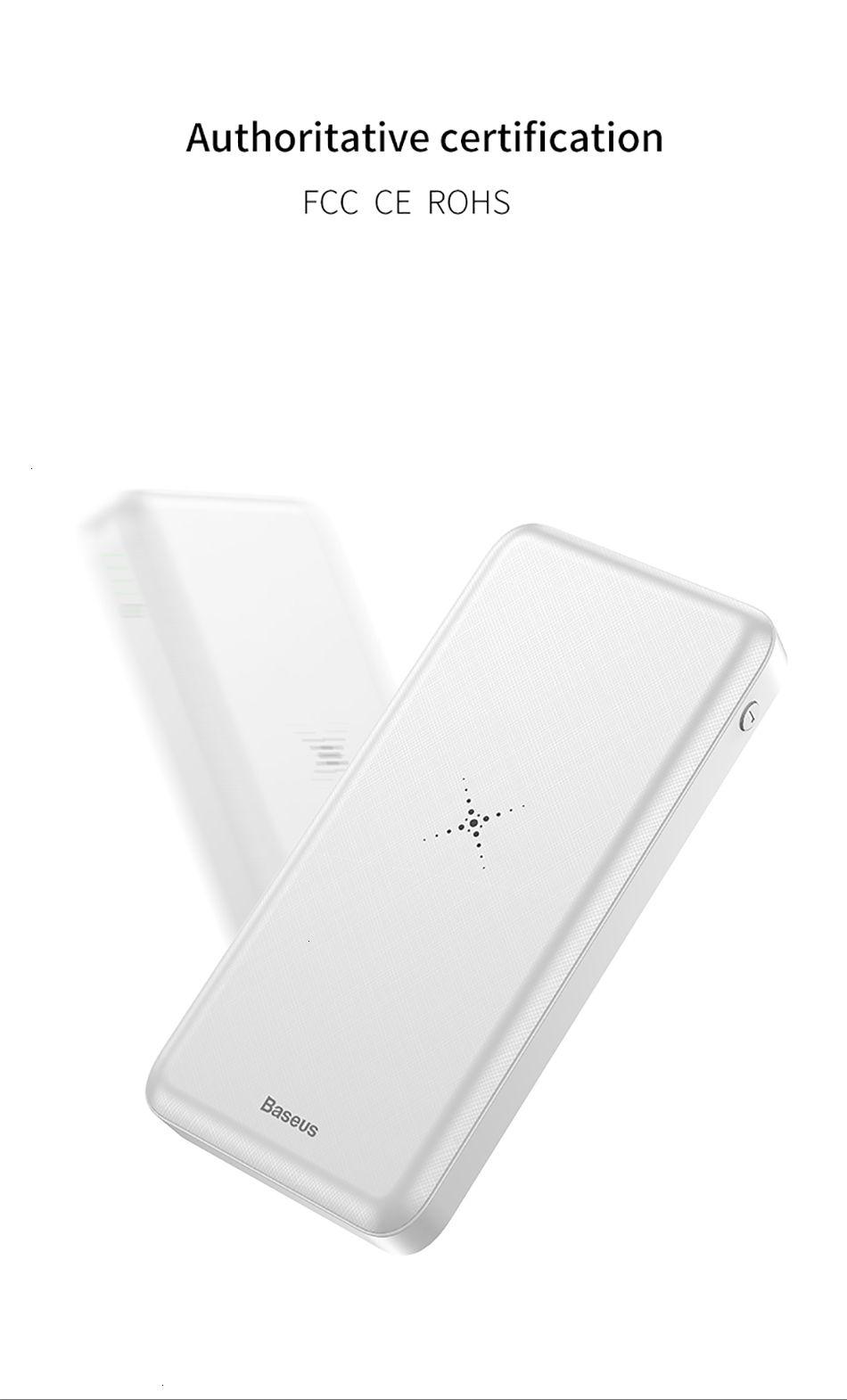 Baseus 10000mAh Qi chargeur sans fil Banque d'alimentation externe Batterie de charge sans fil Powerbank Pour iPhone11 X Samsung huawei Xiaomi