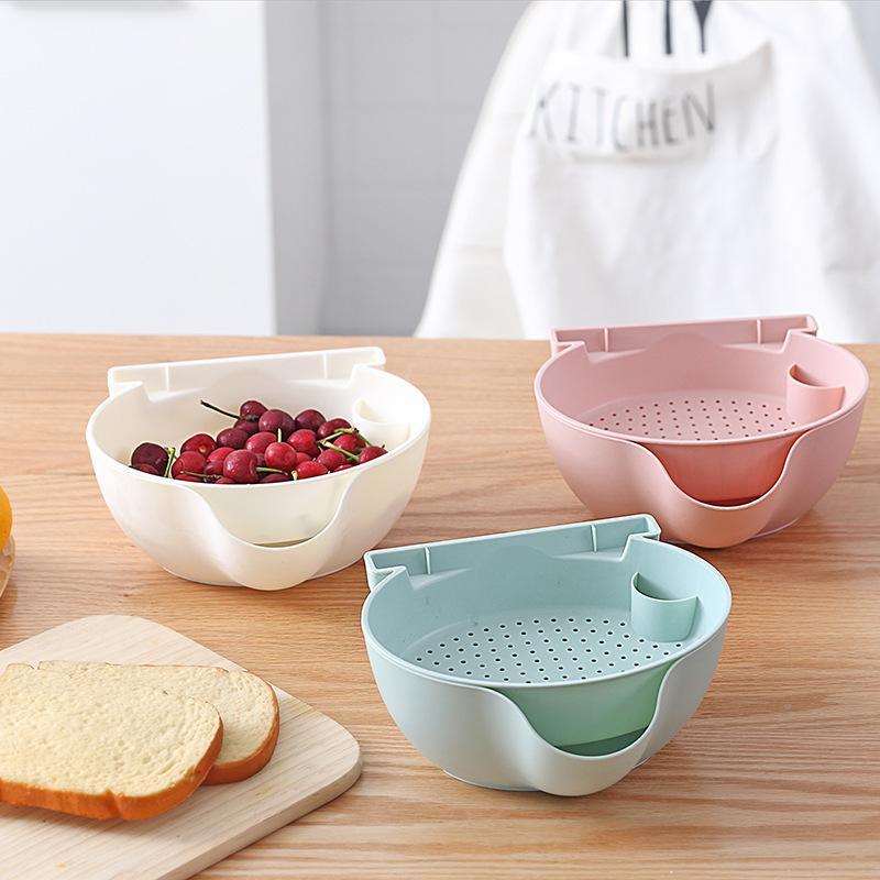 Double Layer pigro Snack Bowl scarico Basket Plastica Snack Box di stoccaggio di frutta Bocce Piatto Melone Candy vassoio Telefono stand Staffa T200617