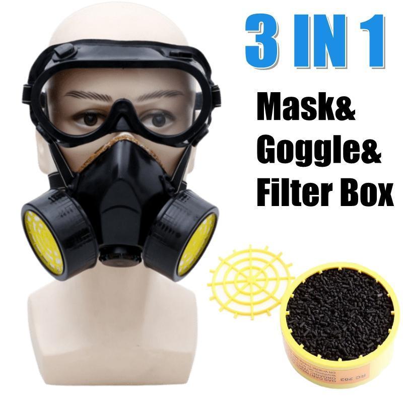 Masque facial gaz + goggle respiratoire anti-poussière haute efficacité des filtres de protection anti PM2,5 industrielle masque respiratoire poussière
