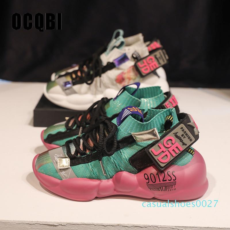 2019 Moda Yüksek Topuk Kamalar Platformu Sneakers Kadınlar Çapraz Bağlı Karışık Renkler PU Deri Ayakkabı Rahat Rahat Kadın Ayakkabı C27