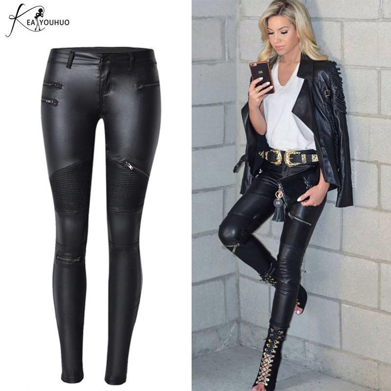 2019 Pantalones de cuero de invierno estiramiento PU para las mujeres de cintura alta basculadores de las mujeres más el tamaño de los pantalones del lápiz de talle flaco Mujer Pantalones V191109