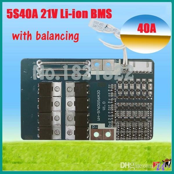 Freeshipping 5S 40A 18.5V 21V li-ion BMS PCM battery protection board for LicoO2 Limn2O4 li battery Temperature Switch for electric tools