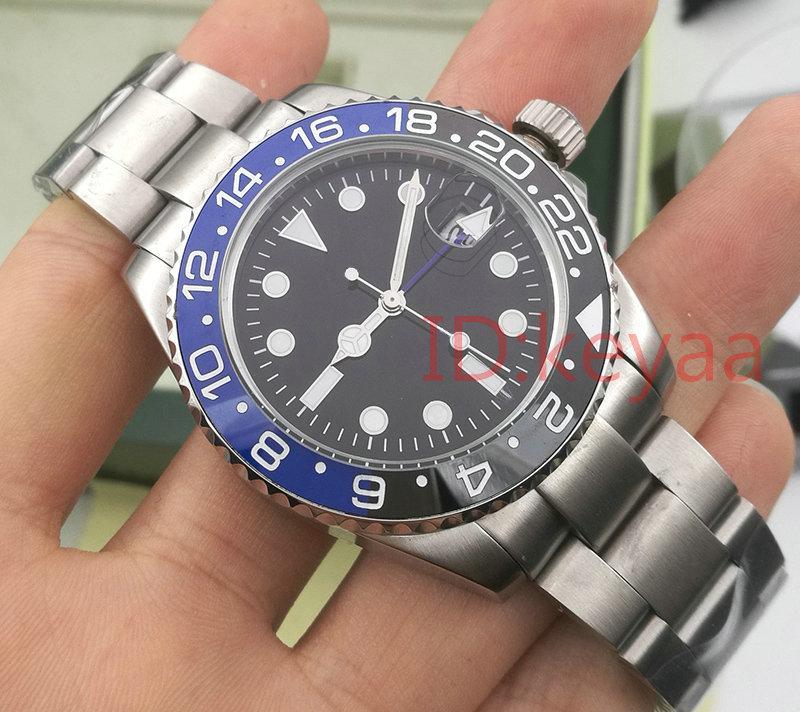 Yeni Lüks Seramik Çerçeve GMT Erkek Mekanik Paslanmaz Çelik Otomatik Hareketi 2813 İzle Erkekler Moda Saatler Tasarımcı Saatı KeyAA
