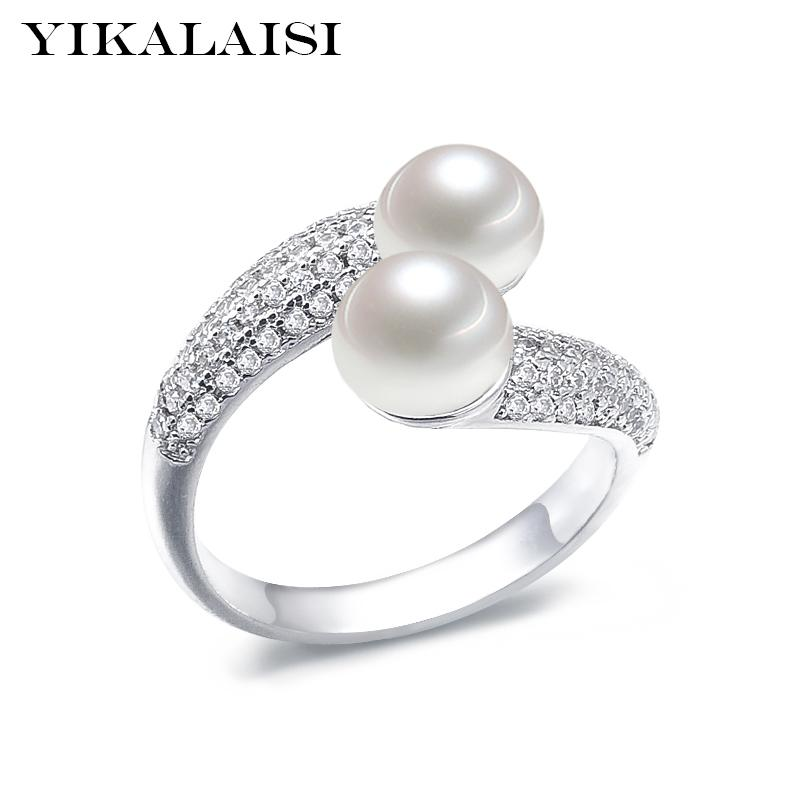Yikalaisi 925 Sterling Silver Natural Freshwater Pearl Interlaced Fashion Rings Jewelry For Women 8-9mm Double Pearl 5 Colour T190624
