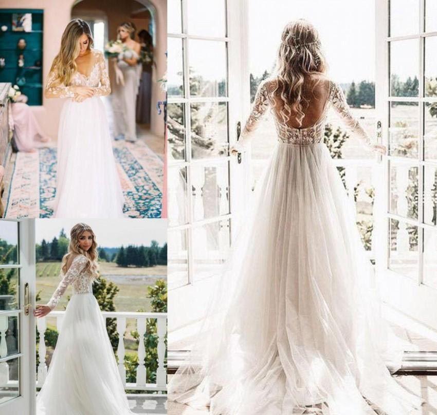 Boho maniche lunghe abito da sposa in pizzo linea di Tulle Bohemian Beach Country Garden Chiesa abito convenzionale nuziale su ordine Plus Size