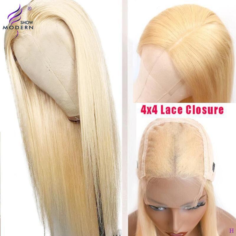 El cierre de encaje moderna Mostrar 4x4 rubia recta pelucas 613 cordón del pelo humano de la peluca para las mujeres pre desplumados pelo del bebé 150% Densidad