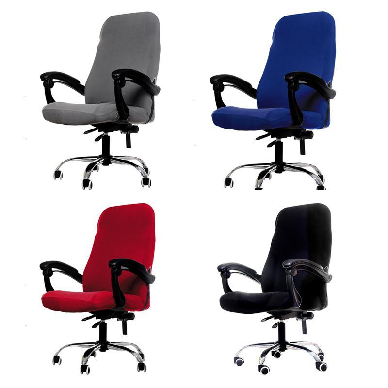 M / L Größen Bürostuhl Abdeckung Spandex Elastic Stretch Schwarz Aufzug Computer-Arm-Stuhl Sitzabdeckungs-Kissen 1PC Y200103