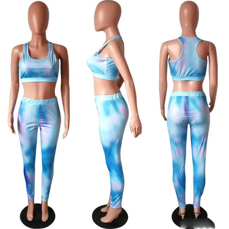 Mujeres Deportes Bras Legging Set de 2 unidades de recorte tapa colorida pantalones de deporte aptitud del chaleco sin mangas de las bragas del chándal mangas de Legging