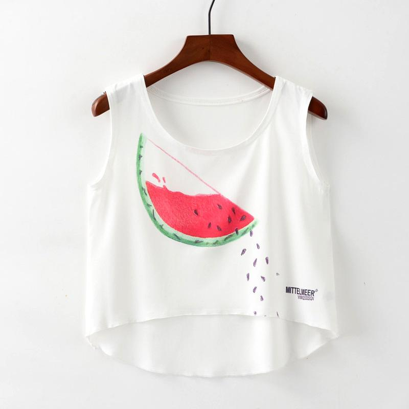 Summer female new 2019 scattered watermelon seeds printed sexy umbilical female short before long women's vest T-shirt tops tide