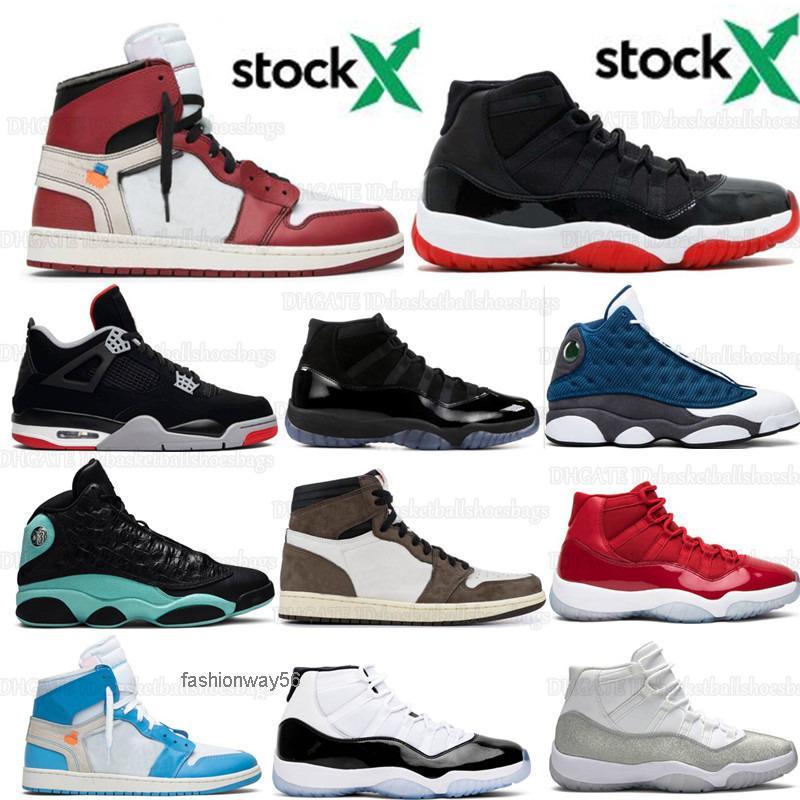 11 Hommes 11s Bred Metallic Silver Concord Chaussures de basket 1 1s vert île blanche Ceme de Travis Scotts 13 Chaussures de sport Chaussures de sport avec la boîte