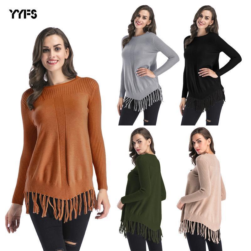 womens designer sweater Knitwear women popular round neck hem tassel thickening long sweater knit J4C0