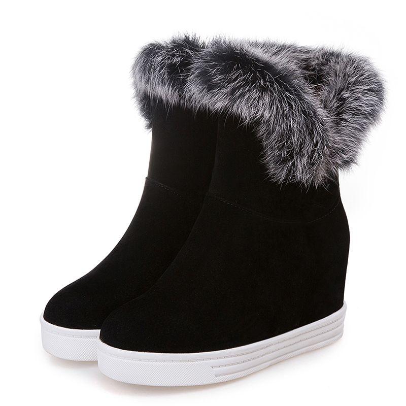 Хорошее качество Зимние ботинки женщин теплые ботинки на платформе высокие каблуки черный серый Fur Real Ladies Snow Boots