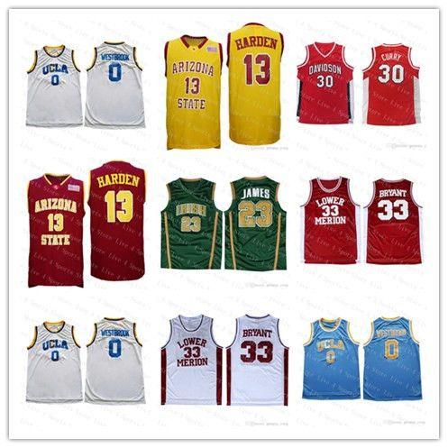 남성 애리조나 주립 NCAA 대학 Baskeball 저지 3 아이버슨 제임스 (13)하든 30 카레 3 웨이드 아일랜드어 (23) 제임스 (33) 브라이언트 조지 타운 놓은 낮은 가격