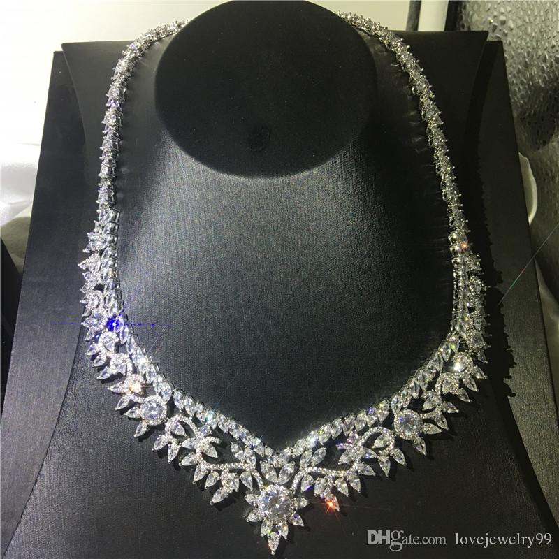 Большое Цветочное Ожерелье Marquise Cut 5A Cz Белое Золото Заполненная Партия Свадебное Ожерелье для женщин Свадебные украшения